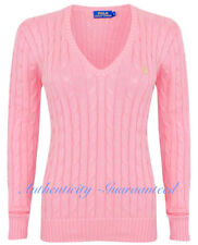 Ralph Lauren Women's Ladies Cable Knit Cotton V Jumper Light Pink Xs-xl M