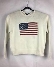 Polo Ralph Lauren Big Flag Vintage Knit White Sweater Sz XL
