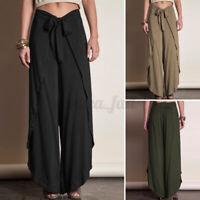 Womens Elastic Waist Casual Loose Trousers Wide Legged Irregular Hem Baggy Pants