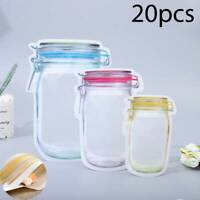 20x Food Storage Bags Fresh Snacks Zipper Pouch Reusable Mason Jar Bags
