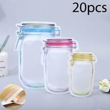 20x Food Storage Bags Fresh Snacks Zipper Pouch Reusable Mason Jar Bags