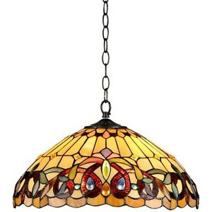 """Tiffany Style Pendant Ceiling Lamp Hanging Fixture Amber Stained Glass 18"""" Wide"""