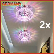 5W Luxus LED Decken Lampe Kristall Leuchte Wohn Zimmer Flur Beleuchtung Silber