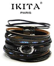 Luxus Breit Leder Armband Ibiza Ikita Brasilien Magnetverschluss Wickelarmband