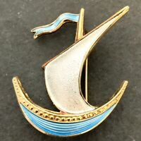 VINTAGE VIKING SHIP BROOCH SAILBOAT BLUE WHITE ENAMEL GOLD TONE METAL PIN