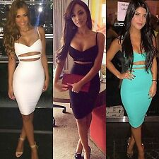 Women Sexy Dress Club Wear Ladies Summer Sleeveless Bodycon Bandage Cotton Dress