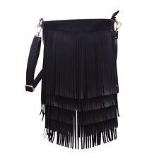 Faux Leather Fringe Shoulder Bag Crossbody Tassel Handbag Women's Purse