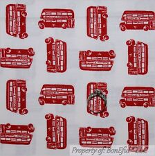 BonEful Fabric Cotton Quilt White Red London British England EURO City Bus SCRAP