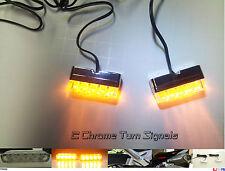 2 Chrome Motorcycle LED TURN Signals Blinker Flasher Flush Footrest Indicators :