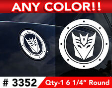 "2010 & UP DECEPTICON CHEVY CAMARO GAS CAP DECAL STICKER 6 1/4"" ROUND ANY COLOR"