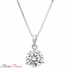 "2CT Simulated Round Cut Martini 14K White Gold Pendant Necklace 16"" Chain"