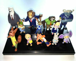 12PCS Set Zootopia Figure Zootropolis Disney Judy Hopps Mr Big Mini Toys Kids