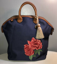 G.I.L.I Embroidered Navy Blue canvas tote bag Red floral embroidery