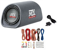 "MTX Road Thunder RT8PT 8"" 240 Watt Powered Vented/Ported Bass Tube+Amp Wire Kit"