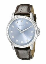 GUESS SILVER TONE,CROC. BROWN LEATHER BAND,ICE BLUE DIAMOND DIAL WATCH U0519G2