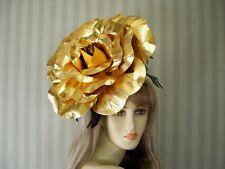Large Gold Rose Fascinator Kentucky Derby Rose Fascinator, WEdding, Easter Hat