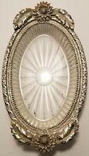Ornate Mid-Century Ormolu? Rimmed Vanity Dish Vintage Floral Oval Glass