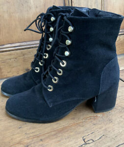 Women's  Carvel Black Lace ups Suede Leather Block Heel Ankle Boots 4uk side zip