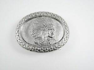 Silver Native American Indian Chief Silver Metal Belt Buckle NEW