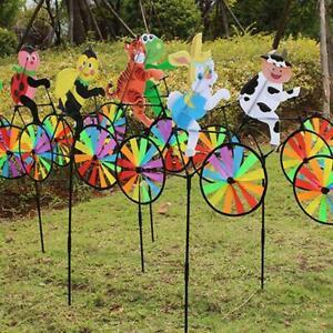3D Animal on Bike Windmill Wind Spinner Whirligig Garden Yard Lawn Decors U P5S8