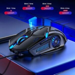 Gaming Mouse RGB LED Light USB Wired Pro Optical With 6D 4-Speed DPI PC Laptop