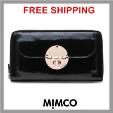 Authentic MIMCO MIM Turnlock Travel Wallet Black Patent Leather Clutch Rose DF