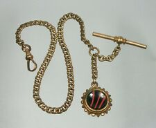 Sided Fob Charm Black/Red Glass Jeweled Mop d Antique Pocket Watch Chain w/ Dbl