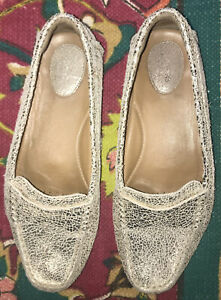 Clarks Artisan Women's Penny Loafer Shoes Sz 10 Leather Crackle Gold Metallic