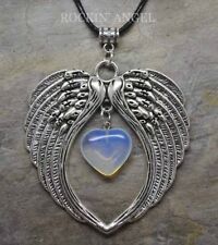 Large Antique Silver Pl Angel Wing Pendant & Opalite Heart Necklace Ladies Gift