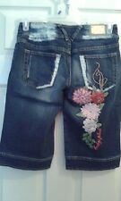 Baby Phat Juniors/Misses Denim Skimmers/Capris  Size 7 Nice Embroidery  (T015K)