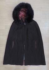 Women's Vintage Cape Cloak Brown Wool Faux Fur Hood  R8-23