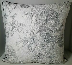 LENOX Moonlit Garden Square Toss Pillow Feather Fill Quilted Black White