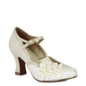 Ruby Shoo Amelia Cream Vintage Flower Buckle Strap High Heel Ankle Strap Shoe