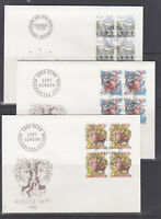 Switzerland Mi 1314/1330, 1986 issues, 4 complete sets in blocks of 4 on 13 FDCs