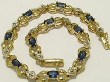 B048 Genuine 9K 9ct Solid Gold NATURAL Sapphire & Diamond Line Bracelet 18cm