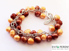 Evita Peroni Earrings Silver Plated Pearls Heart Key Hole Design Vintage