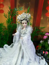 Handmade 1/6 KURHN Chinese Costume Girl Doll Set Ancient White Outfits Gift Toy