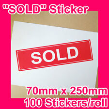"100 Large ""SOLD"" stickers/labels 70mmx250mm GST INCLUDED (1 roll)"