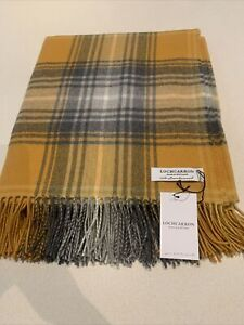 Locharron Scotland Large Wool Rug Blanket Mustard Orange Grey Tartan Check