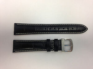 Citizen 59-S50281 / 59-S50266 Black/white Leather Watch band 18mm With Pins
