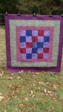 Handmade Flannel Quilt 52W x 56L, machine quilted butterflies