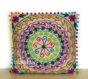 """New 16"""" Pillow Cover 24"""" Square Jute Embroidery Cushion Cover 18"""" Pillowcase D5"""