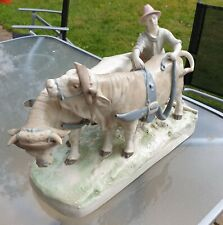 More details for royal dux porcelain group of a plough boy and two harnessed oxon early mark 2185