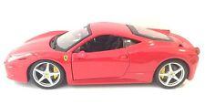 FERRARI 458 ITALIA RED RACE PLAY 1/24 DIECAST MODEL CAR BY BBURAGO