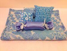 BLUE FLORAL BROCADE BEDDING SET FOR BARBIE, MONSTER HIGH, OR BRATZ DOLLS