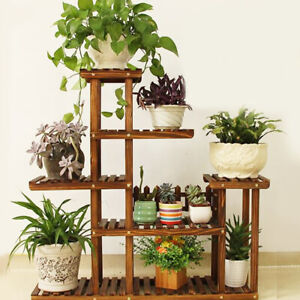 New Strong 5 Tier Wooden Plant Stand Garden Flowerpot Shelf Sturdy Display Decor