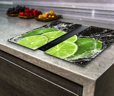 Hob Cover Induction Electric Cooker Chopping Board Glass Set 2 Parts Lime Water