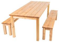 Cesis - Set da giardino, composto da tavolo e panche in legno di pino massiccio.
