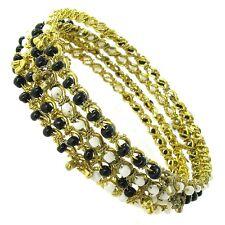 Gold Tone Black and White Beaded Bangle Bracelets - Set of 4 - Made in India