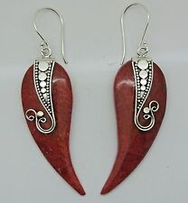 Designer Handcrafted Red Coral Dangle Hook Fancy Earrings in 925 Sterling Silver